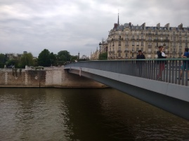 View of the Seine and the peak of Notre Dame